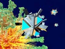 En Nano Bot som anfaller en virus vektor illustrationer