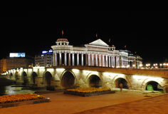 En natt i Skopje royaltyfri foto