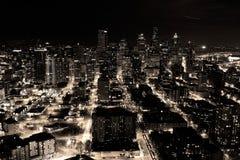 En natt sköt av staden av Seattle, USA Arkivfoton