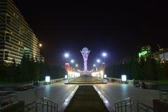 En nattsikt i Astana Fotografering för Bildbyråer
