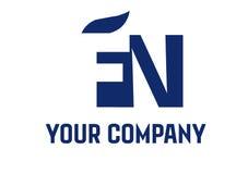 EN Negative Space Square Swoosh Letter Logo Stock Images