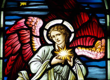 En ängel med stjärnan av Betlehem Arkivbild