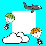 En nivå för flygtecknad filmgrå färger, teddybears med hoppa fallskärm och två moln mot det blåa bakgrund och stället för text royaltyfri illustrationer