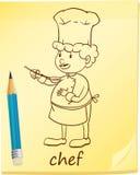 En notepad med en kock Royaltyfri Fotografi