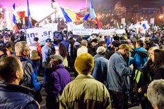 En noviembre de 2015 demostraciones en Rumania fotografía de archivo