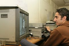 En oberoende irakisk TV-station, Cario Arkivbild