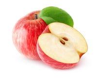 En och en halv isolerade röda äpplen Fotografering för Bildbyråer
