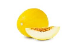 En och en halv mogen melon på vit bakgrund Arkivfoto