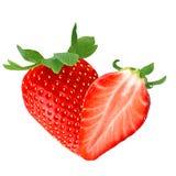 En och halv jordgubbe på vit Fotografering för Bildbyråer