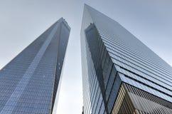 En och sju World Trade Center Arkivfoto