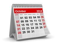 En octubre de 2018 - calendario ilustración del vector