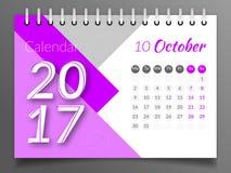 En octubre de 2017 Calendario 2017 Foto de archivo libre de regalías