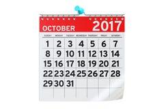 En octubre de 2017 calendario, representación 3D ilustración del vector