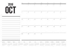 En octubre de 2018 ejemplo del vector del calendario del planificador stock de ilustración