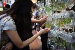 En octubre de 2015: El mercado del pez de colores en Hong-Kong Fotos de archivo libres de regalías