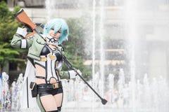 En oidentifierad japansk anime som är cosplay på den centrala världen i Thail fotografering för bildbyråer