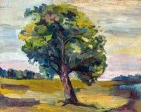 En olje- målning på kanfas av ett lantligt landskap för säsongsbetonad höst med det ensamma färgrika gamla päronträdet Arkivbilder