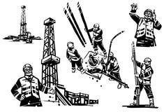 En olje- tekniker med en radio på bakgrunden av en borrandeoljeplattform Arbetare borrar en brunn Separat borranderigg stock illustrationer
