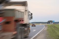 En olycka på vägen arkivfoto