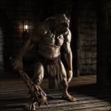 En ondska fiska med drag i med den broddade klubban som irrar labyrintkorridorerna som söker efter rovet royaltyfri illustrationer