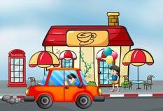 En orange bil framme av coffee shop royaltyfri illustrationer