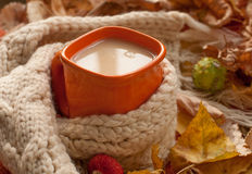 En orange kopp av mjölkar te, en beiga stucken halsduk, torra trädsidor Arkivfoto