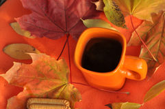 En orange kopp te, färgrika lönnlöv och kex på en orange yttersida Royaltyfri Foto