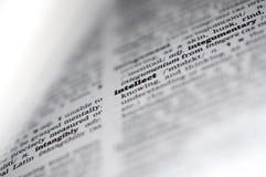 En ordbokclose upp av ordet, intellekt royaltyfria foton