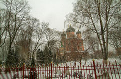 En ortodox kyrka i Moskva Royaltyfri Foto