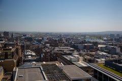 En ovanlig sikt över Glasgow City Centre från 17 golv över Royaltyfria Foton
