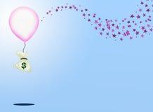 En påse av pengar och en rosa ballong med gnista av Pi Arkivbild