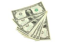 En packe av räkningar i en amerikansk dollar Royaltyfria Bilder