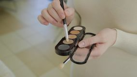 En palett med ögonskuggor och en makeup borstar: skönhetsmedel för kvinna` s Morgonsmink Dekorativa skönhetsmedel: en palett med lager videofilmer