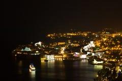 En panorama av Dubrovnik vid natten, Kroatien Arkivbild