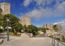 En panorama av Erice i Sicilien Royaltyfri Bild