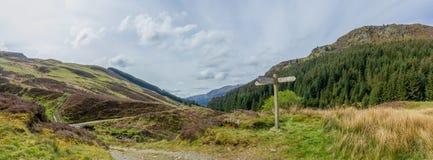 En panoramasikt av en dal med den gröna lutningen, sörjer trädskogen längs en slingabana med ett trätecken under en majestätisk m arkivfoto