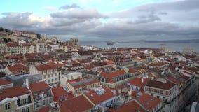 En panoramautsikt av Lissabon stock video