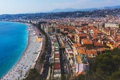 En panoramautsikt av staden av Nice, Frankrike franska Riviera royaltyfria foton