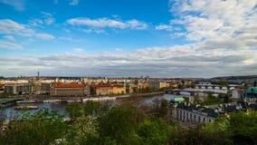 En panoramautsikt från Letna över Prague i sommaren royaltyfri fotografi