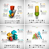 4 en 1 paquete de Infographics del negocio stock de ilustración