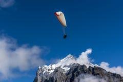 En paraglider i schweiziskt alpint berg Arkivfoton
