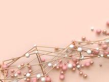 Or en pastel étendu plat de rose de rendu du fond 3d métallique beaucoup forme d'abrégé sur sphère illustration libre de droits