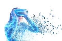 En person i faktiska exponeringsglas flyger till PIXEL Framtida teknologibegrepp fotografering för bildbyråer