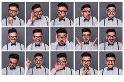 En person med olika sinnesrörelser Arkivbild
