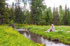 En picknick på banken av en bergflod med grönt gräs och gula blommor mot bakgrunden av barrträd och en blått royaltyfria foton