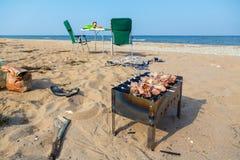 En picknick på kusterna av Blacket Sea Royaltyfria Foton