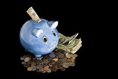 Piggy packa ihop med pengar Arkivfoto