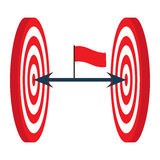En pil är i mitten av en darttavla var målet för begreppet för den center cirkeln valda det folk färdig beskickning, affärsidé Arkivfoto