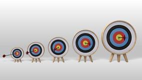 En pil som exakt slår i de flera målen, mer och mer framgångprojekt royaltyfri illustrationer
