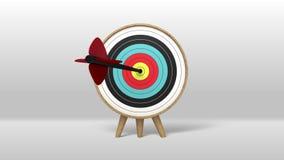 En pil som exakt slår i målen stock illustrationer